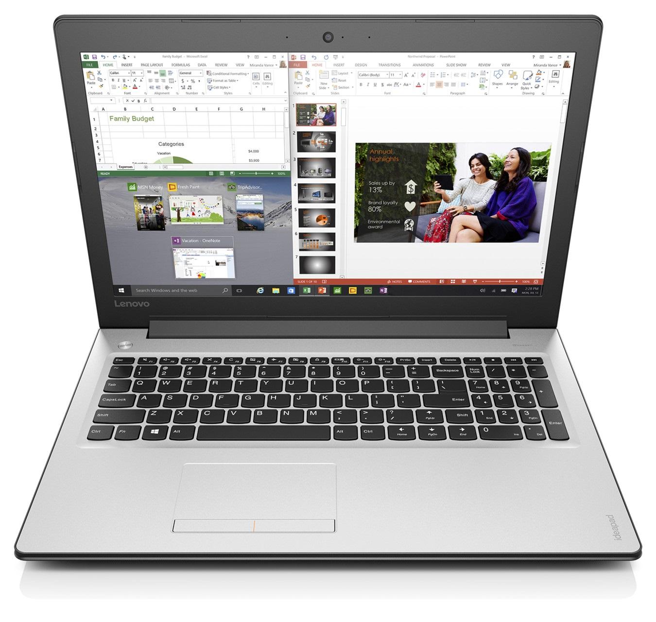 """Lenovo IdeaPad 310-15ABR AMD A10-9600P 3,30GHz/6GB/1TB/15,6"""" FHD/Radeon 2GB/DVD-RW/WIN10 bílá 80ST005MCK"""