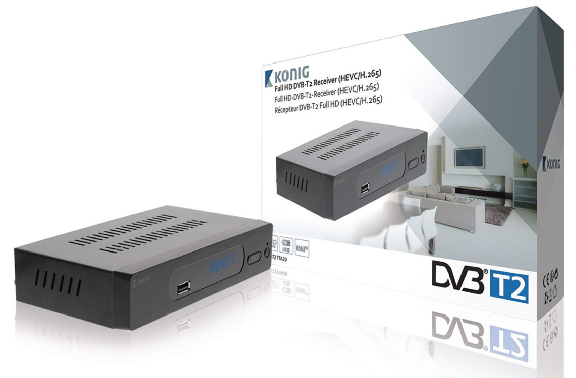 König FTA20 - DVB-T2 HEVC/H.265 přijímač (set-to box), Full HD 1080p