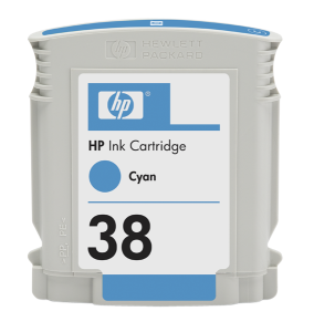 HP 38 Cyan Ink Cart, 27 ml, C9415A