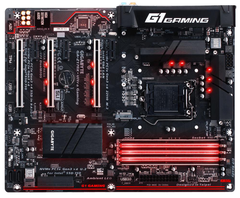 GIGABYTE MB Sc LGA1151 Z170X-Ultra Gaming, Intel Z170, 4xDDR4, VGA