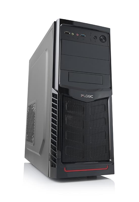 LOGIC PC skříň A30 Midi Tower, zdroj LOGIC 600W ATX PFC, USB 3.0