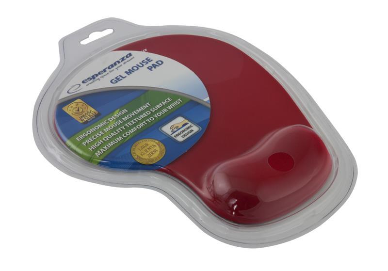 Esperanza EA137R podložka pod myš (230 x 190 x 20 mm), gelová, červená, blistr