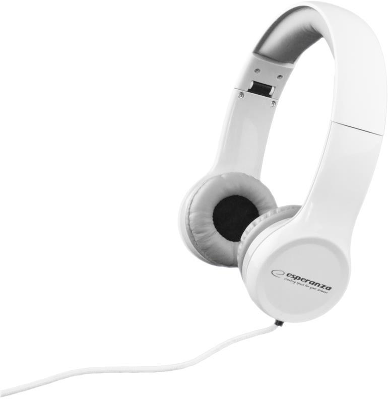 Esperanza EH140W FUNK Stereo sluchátka, skládací, ovl. hlasitosti, 3m, bílá