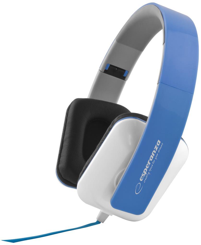 Esperanza EH137B JAZZ Stereo sluchátka, skládací, ovl. hlasitosti, 3m, modrá