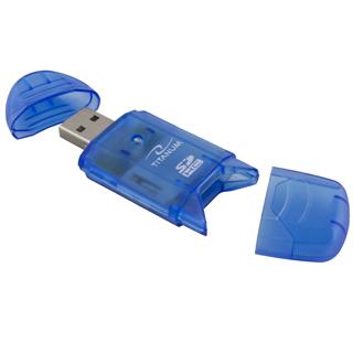 Titanum TA101B Čtečka karet SDHC/MiniSDHC/MicroSDHC/RS/MM USB 2.0, modrá