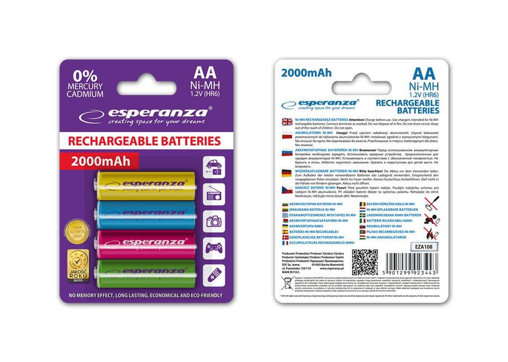 Esperanza EZA108 Nabíjecí baterie Ni-MH R6/AA 2000mAh, 4 ks, blister