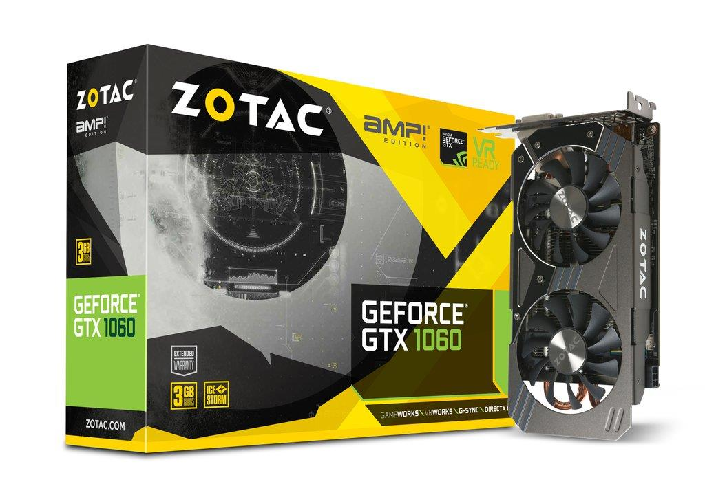 ZOTAC GeForce GTX 1060 AMP, 3GB GDDR5 (192 Bit), HDMI, DVI, 3xDP