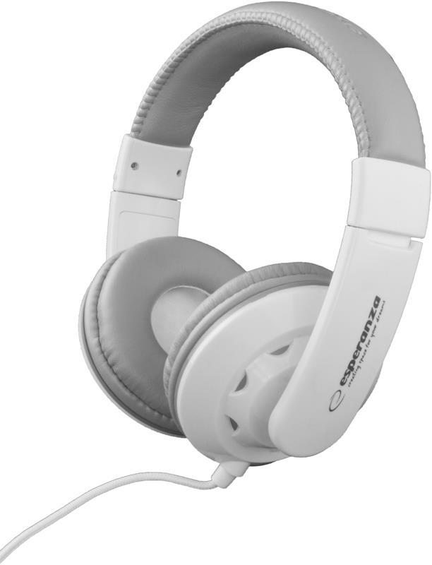 Esperanza EH144W CORAL Stereo sluchátka, ovl. hlasitosti, 3m, bílá