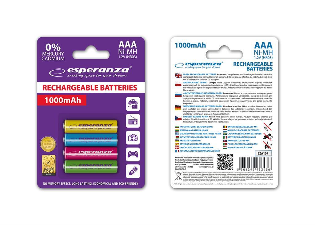 Esperanza EZA107 Nabíjecí baterie Ni-MH R03/AAA 1000mAh, 4 ks, blister