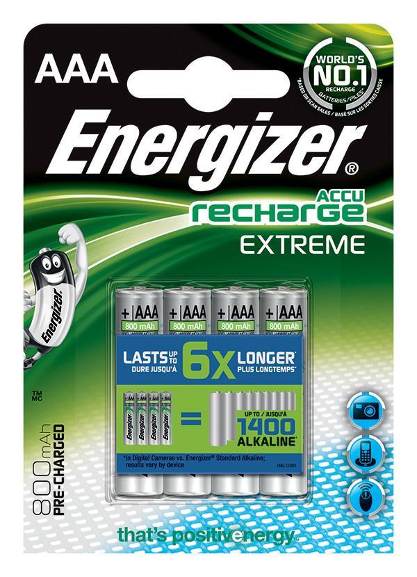 Dobíjecí baterie, ENERGIZER Extreme, AAA, HR6, 1.2V, 800mAh, 4 ks