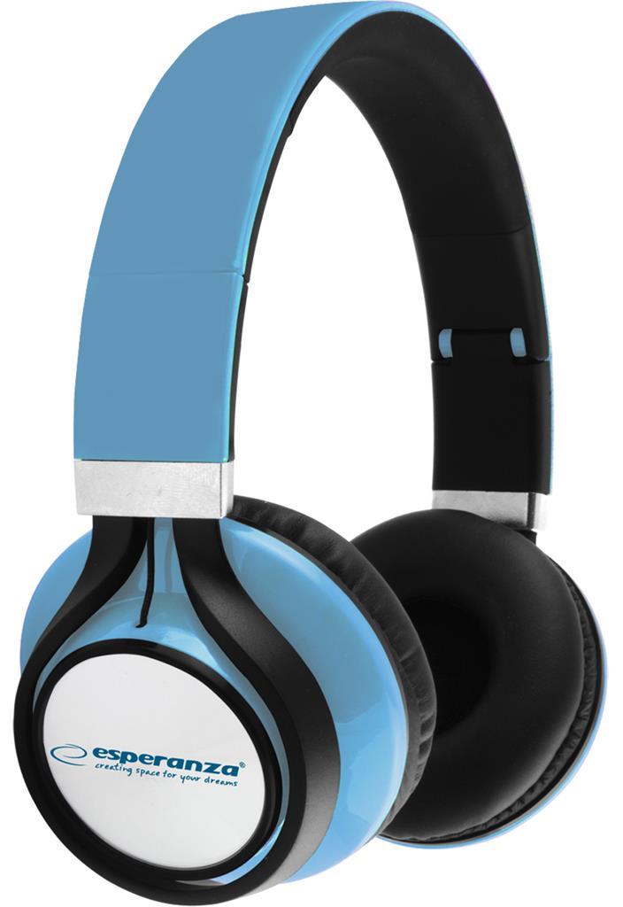 Esperanza EH159B FREESTYLE Stereo sluchátka, skládací, ovl. hlasitosti, 2m, modr