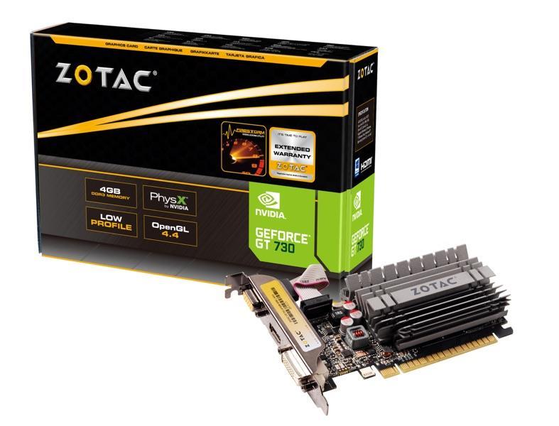 ZOTAC GeForce GT 730 Zone Edition Low Profile, 4GB DDR3 (64 Bit), HDMI, DVI, VGA