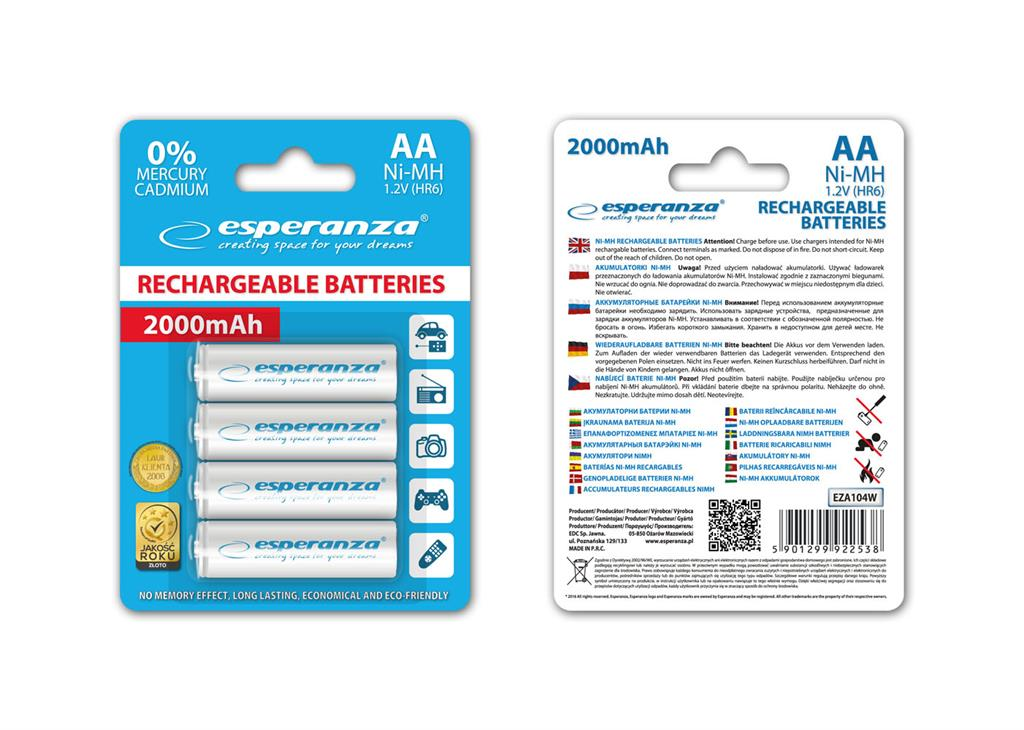 Esperanza EZA104W Nabíjecí baterie Ni-MH R6/AA 2000mAh, 4 ks, blister