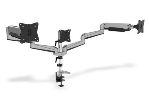 Clamb Mount for Monitors with Gas Spring, 3xLCD,27'',adjustable and rotated 360°