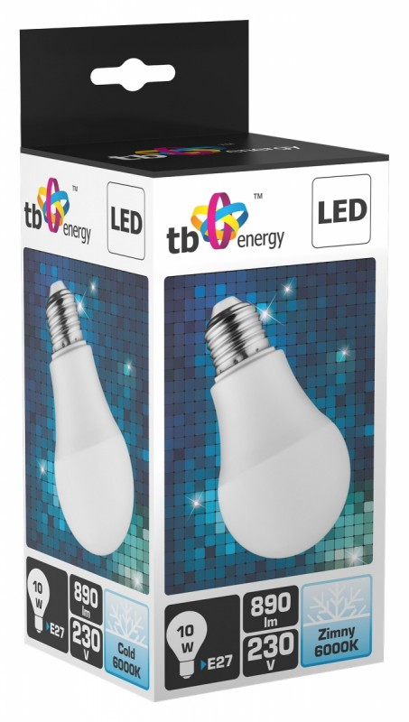 LED žárovka TB Energy E27,230V,10W, Studená bílá