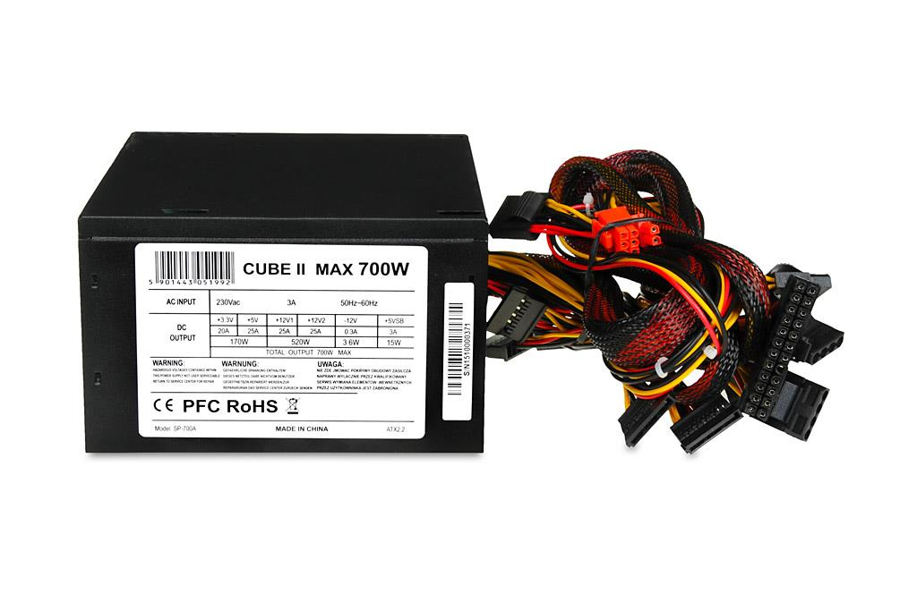 PC zdroj I-BOX CUBE II ATX 700W 12 CM FAN BLACK EDITION