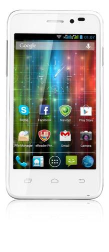 "PRESTIGIO MultiPhone PAP5400DUO, 4"", Dual SIM, 1.2GHz quad-core, Android 4.1, 4GB, MicroSD slot, 3G, GPS, bílý,bazar"