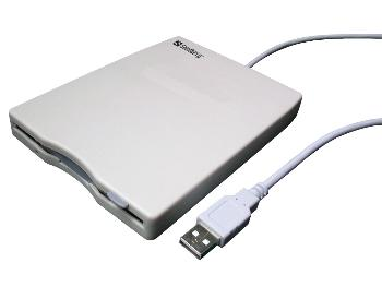 Sandberg externí mini disketová mechanika, USB, 3.5'' diskety, bílá