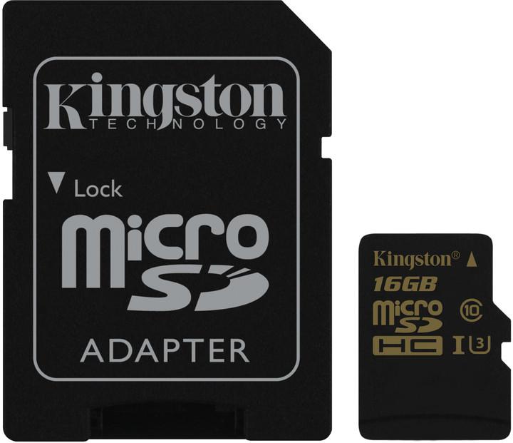 16GB microSDHC Kingston UHS-I U3 90R/45W