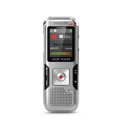 Philips digitální záznamník DVT4010 - 8GB, USB, microSDHC až 32GB, barevný displej, li-pol baterie
