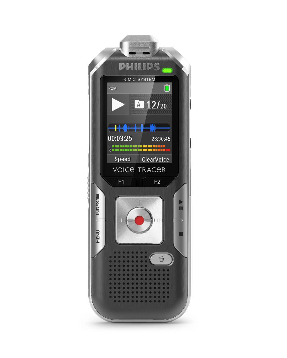 Philips digitální záznamník DVT6010 - 8GB, USB, microSDHC až 32GB, FM, barevný displej, li-pol baterie