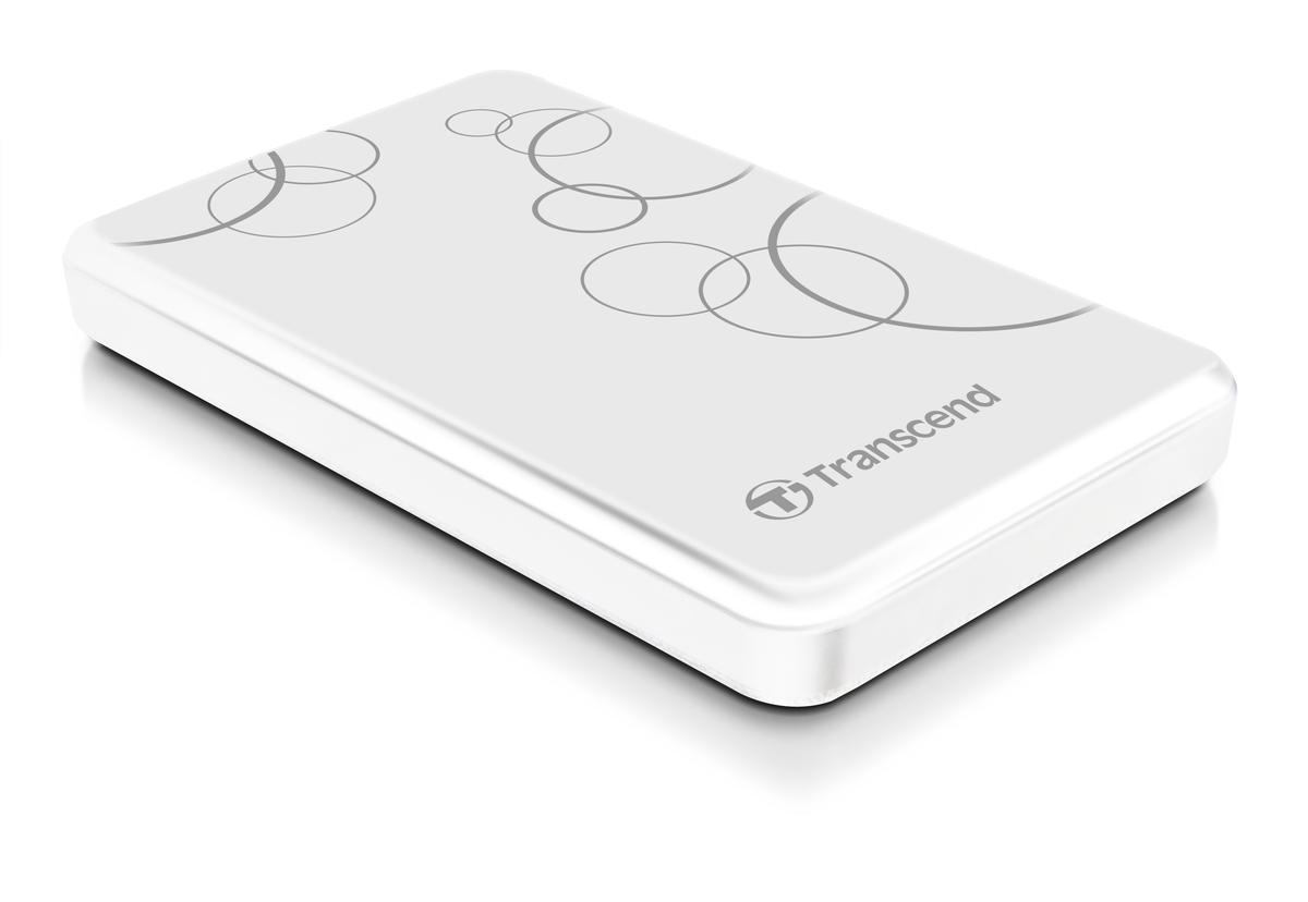 """TRANSCEND 2TB StoreJet 25A3, USB 3.0, 2.5"""" Stylový externí odolný hard disk, bílý se vzorem"""