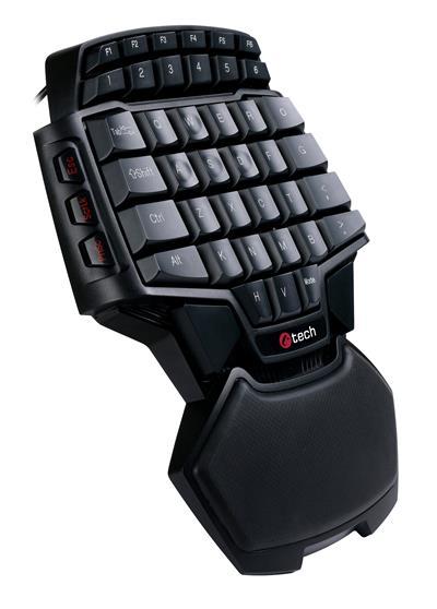 C-TECH herní klávesnice Konabos (GKB-46), speciálně tvarovaná s ergonomickou područkou, 46 kláves, USB