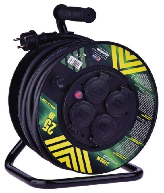Emos prodlužovací buben - 4 zásuvky, 25m, 2.5mm, guma, IP44