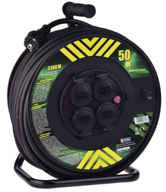 Emos prodlužovací buben - 4 zásuvky, 50m, 2.5mm, guma, IP44