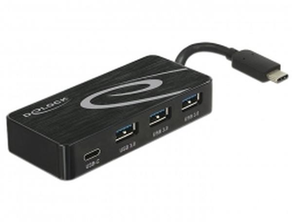 Delock Externí USB 3.1 Gen 1 Hub USB Type-C™ > 3 x USB 3.0 Typ-A + 1 x USB Type-C™