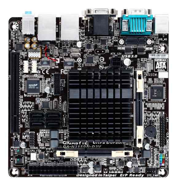 GIGABYTE MB N3150N-D3V, Quad-Core Celeron® N3150 SoC (1.6 GHz), Intel N3150, 2xDDR3 SO-DIMM, VGA, Mini-ITX