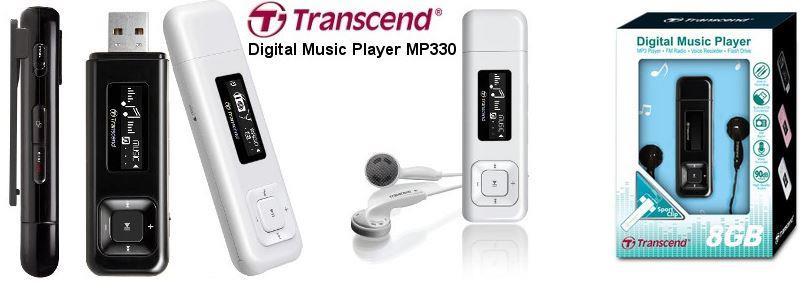 Transcend MP330 8GB MP3 přehrávač s FM rádiem, 1'' OLED displej 128x32, bílý