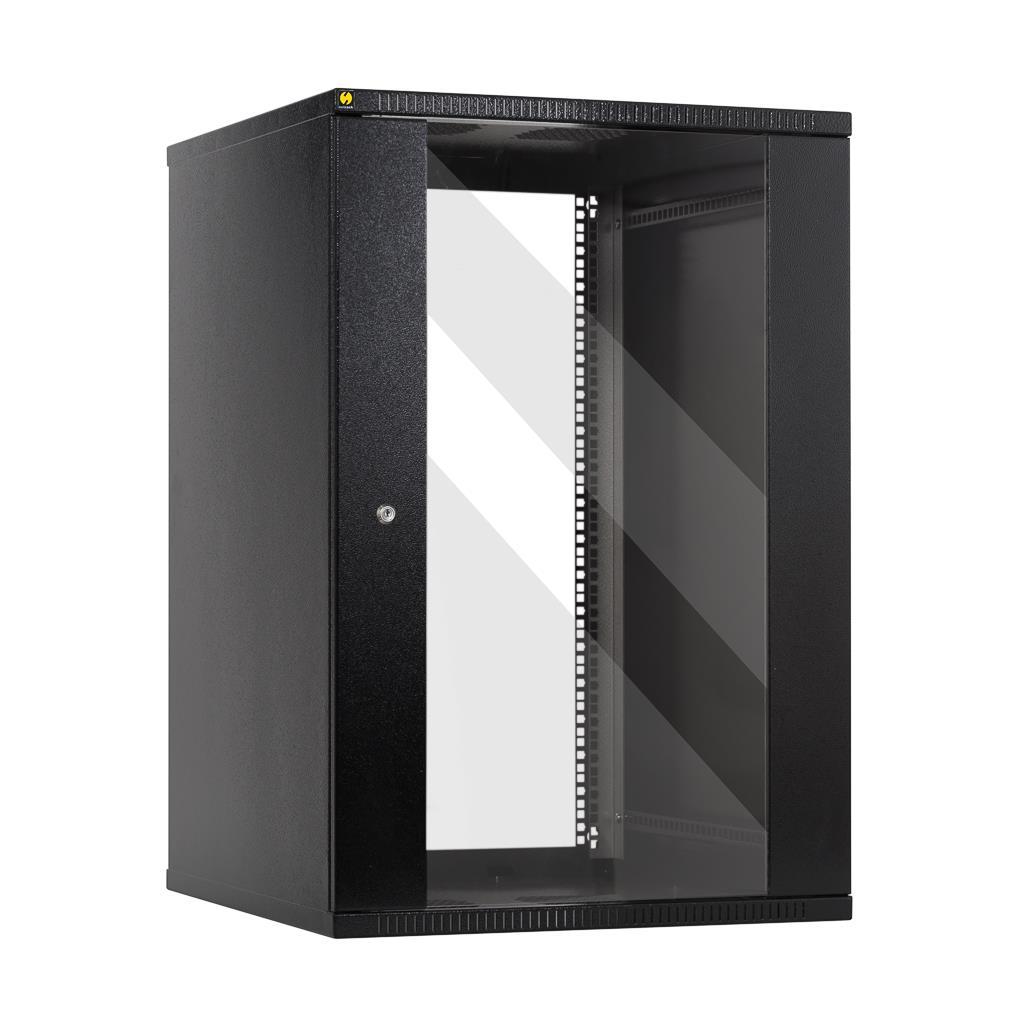 Netrack závěs./stoj. rack 19'' 18U/600 mm, skleněné dveře, barva grafit