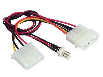 Gembird kabel MOLEX (4pin) s vývodem pro ventilátor (3pin FAN) 15 cm