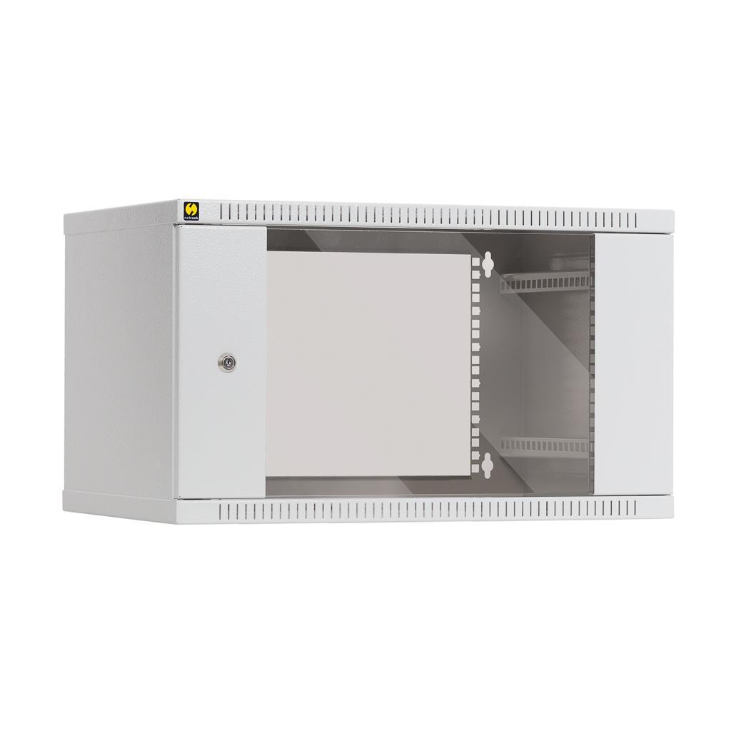 Závěsný datový rozvaděč 19'' Netrack 6U/400 mm, prosklené dveře, barva šedá