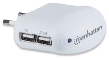 Manhattan USB nabíječka, high-power 2.1A, dva porty, iPad, iPhone