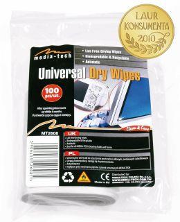 Media-Tech UNIVERSAL DRY WIPES univerzální antistatické čisticí ubrousky,100ks