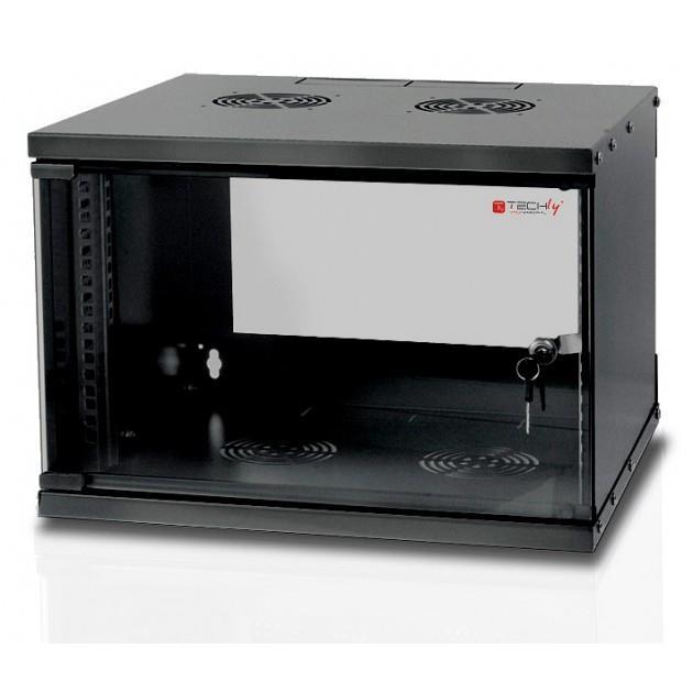 TechlyPro Závěsná skříň ECO 19'' 6U/320 mm skleněné dveře zmontovaná, černá
