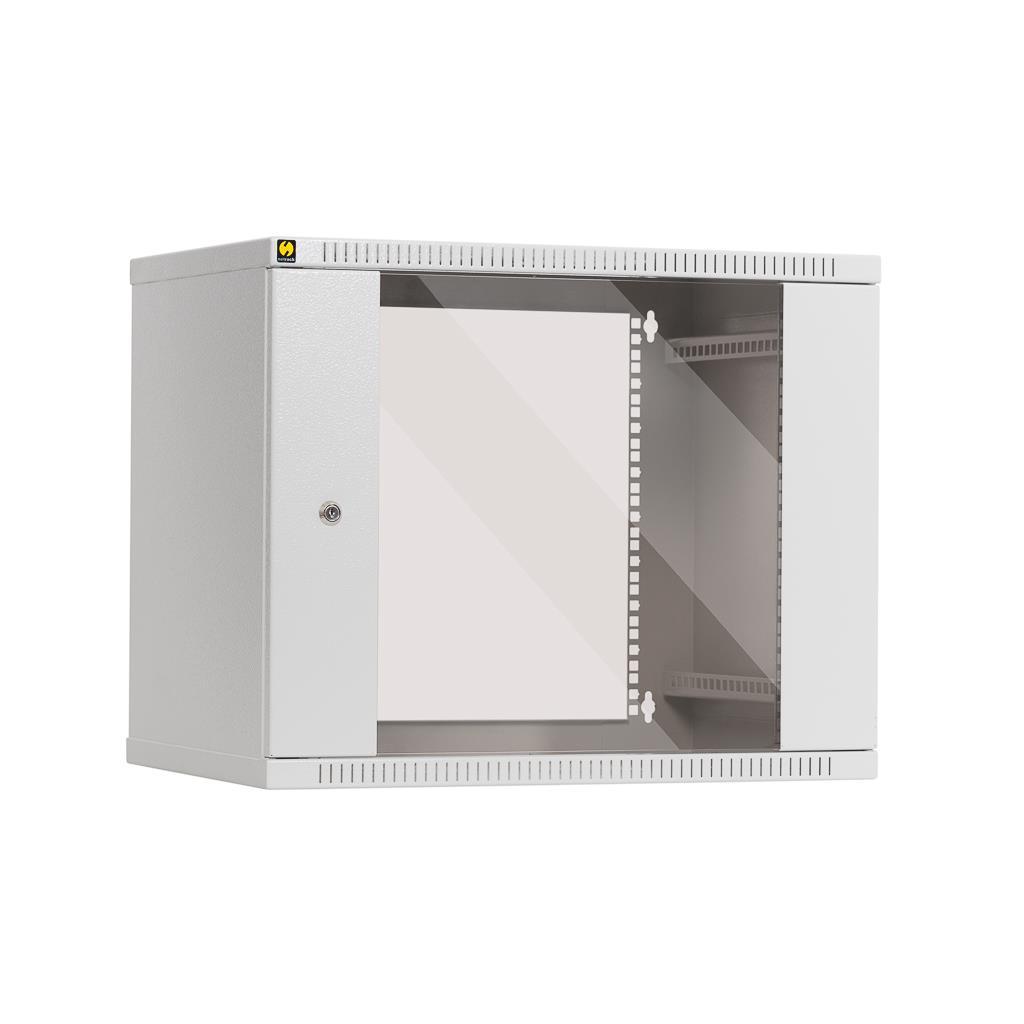 Závěsný datový rozvaděč 19'' Netrack 9U/400 mm , skleněné dveře, barva popelavá