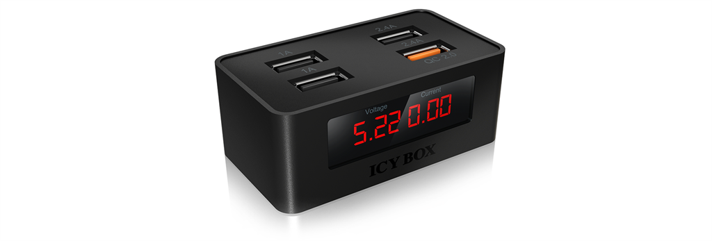 IcyBox 4-Port USB-fast-charging-device, Black