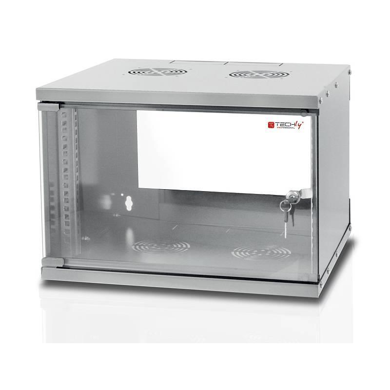 TechlyPro Závěsná skříň ECO 19'' 6U/450 mm skleněné dveře zmontovaná, šedá