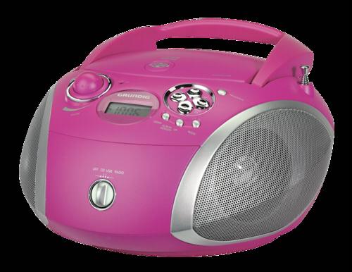 Rádio Grundig RCD 1445 USB růžové-stříbrné