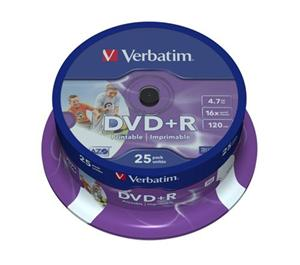 VERBATIM DVD+R(25-Pack)InkjetPrintable/Spindle/16x/4.7GB
