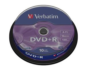 Disk DVD+R Verbatim 4,7GB 16x 10-cake