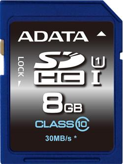 ADATA paměťová karta 8GB Premier SDHC UHS-I CL10 (čtení/zápis: 50/10MB/s)