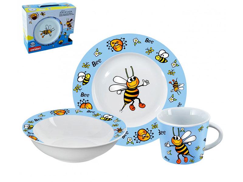 talíř+miska+hrnek dětský porcelán VČELKA