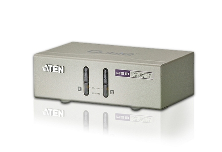 ATEN KVM switch CS-72U USB 2PC audio, with custom cables 1,2m