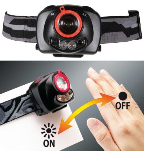 Emos LED svítilna čelovka PHM0M3A011, 1W CREE + 2 červené LED, fokus, 3x AAA, IR čidlo