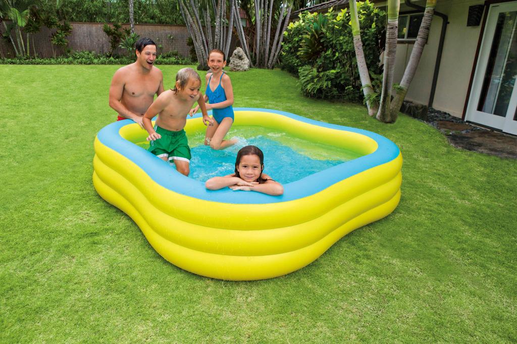 Nafukovací bazén čtverec s okénky, tříkruhový