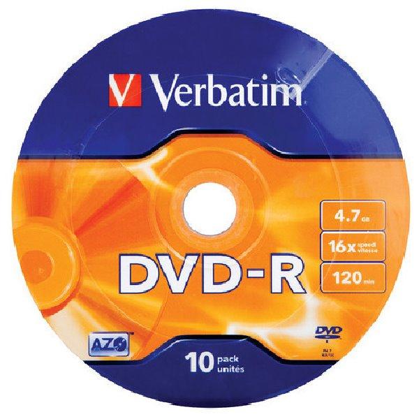 VERBATIM DVD-R 4,7GB 16x MATT SILVER folie 10pk/BAL